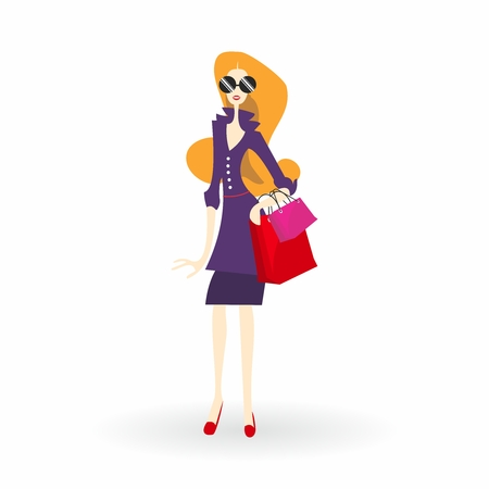 Cartoon Illustration of Fashionable Lady Shopping in Sun Glasses with Bright Makeup