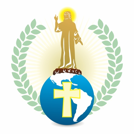 Vector Holy Jesus Christ Statue Giving Blessings Standing on Blue Globe with Cross on Top
