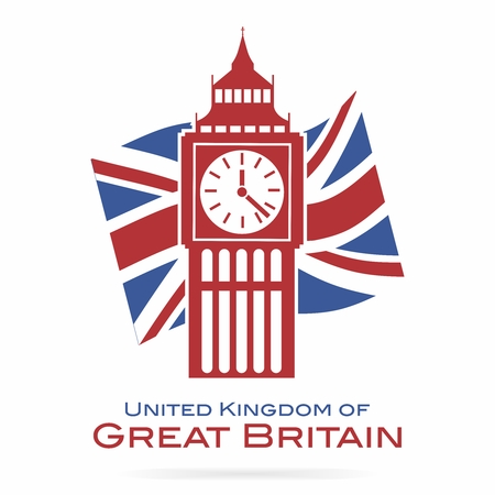 Vector Big Ben Clock Tower Silhouette with British Union Jack Flag