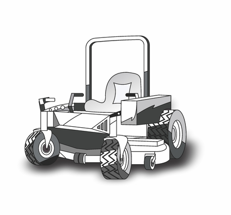 Vector Cartoon Zero Turn Lawnmower for Landscaping