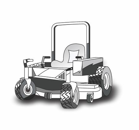 Tondeuse à gazon à braquage zéro de dessin animé de vecteur pour l'aménagement paysager Vecteurs