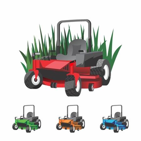 Vector Cartoon Zero Turn Lawnmower for Landscaping