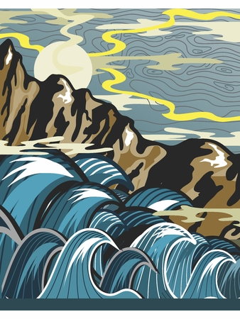 Vector Retro Stencil Illustration of Extreme Violent Open Sea and Mountains 向量圖像