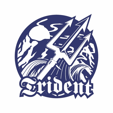 Vector Retro Monochrome Stencil Logo of Trident and Extreme Violent Open Sea and Mountains 向量圖像