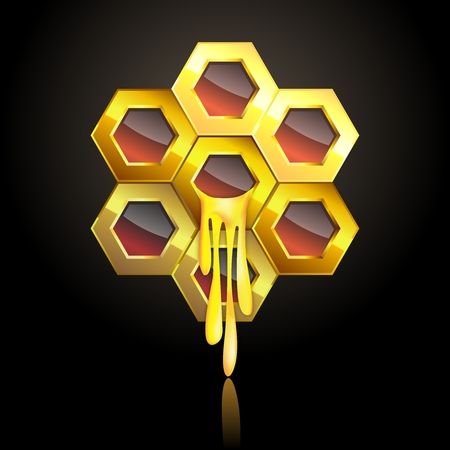 Vector render of Honeycomb, glossy reflection golden honeycomb with honey dripping out 向量圖像