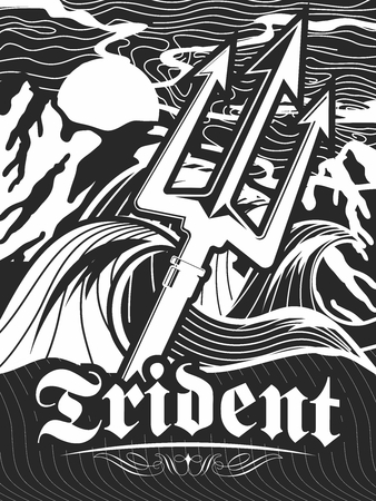 Save Download Preview Vector Retro Stencil Illustration of Trident and Extreme Violent Open Sea and Mountains 向量圖像