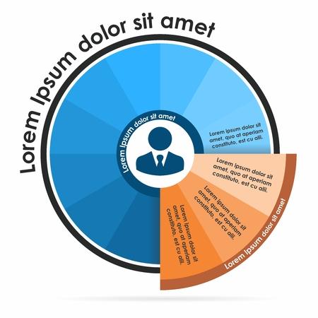 Vector ronde platte zakelijke infographic diagram presentatie grafiek, sector met opties, onderdelen, stappen of processen lay-out
