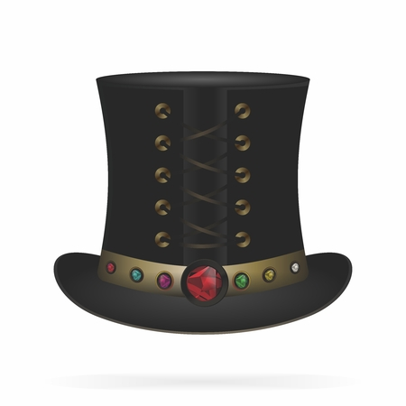 Vector retro steampunk top hat, black color leather top hat with gemstone 向量圖像