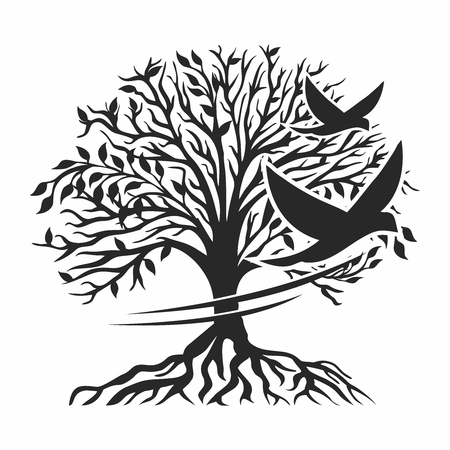 Vector Stencil Design, Birds flying away from tree 向量圖像