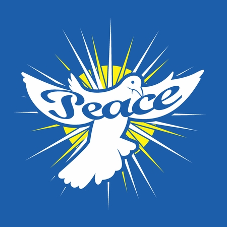 Vector free flying white dove from heaven, carrying message of Peace