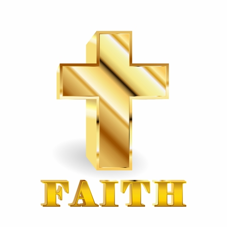 Vector 3D glossy Golden Cross Illustration, Christianity Symbol of Faith