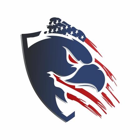 Vector patriotic artwork of USA flag with bald eagle Imagens - 114766294