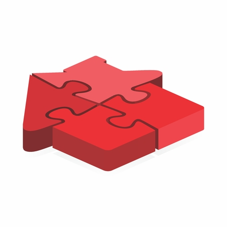Vector render of simple jigsaw house puzzle in red color 向量圖像