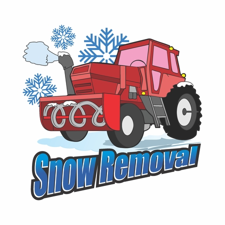 Vector Cartoon Snow Blower Tractor Truck Removing Snow in Winter 向量圖像