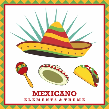 Vector Cartoon Elements, Mexican Fashion, Food & Culture Theme