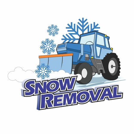 Vector Cartoon Snowplow Tractor Truck Removing Snow in Winter