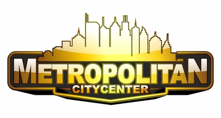 Vector creative metropolitan citycenter skyline, badge shape in  golden reflective color 向量圖像