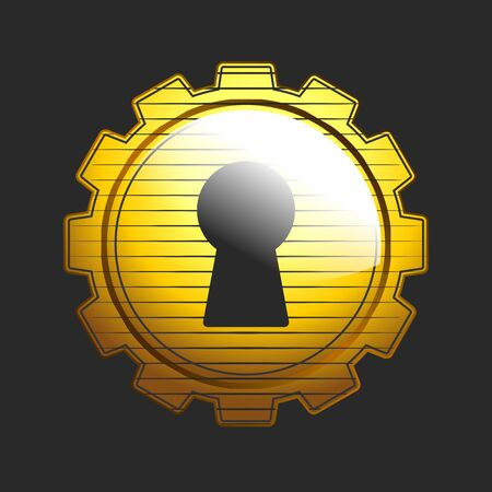Vector  emblem of locksmith lock picking, gear with keyhole in gold color