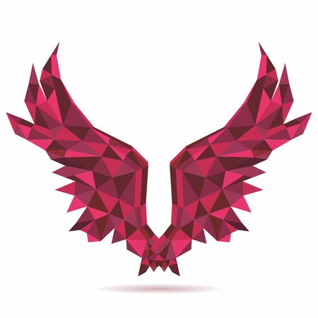 Vector Polygon Geometric Red Angel Wings Design
