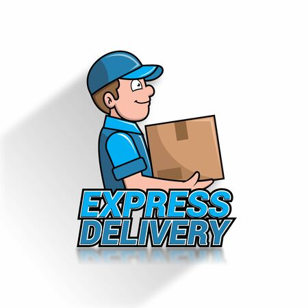Vector logo mascot of delivery guy, postal service, parcel delivery, logistic company