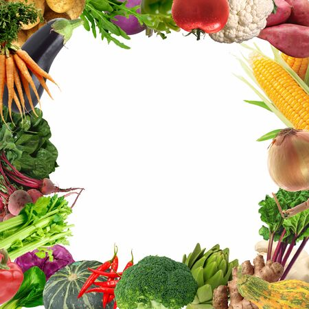 Fresh vegetables border on white background