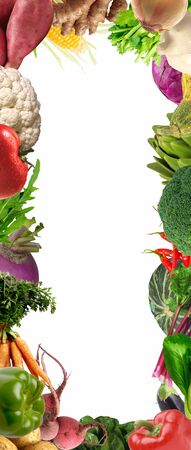 Natural vegetables banner border on white background 版權商用圖片