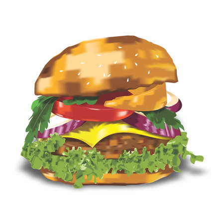 Vector Beef Burger Realistic Illustration on white background 向量圖像