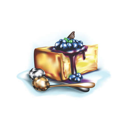 Blueberry Cheesecake Illustration on white background