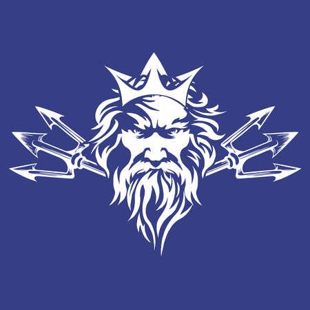 Poseidon Neptune Crest, Greek Roman Deity Stencil Decal Ilustração