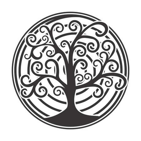 Vector Stencil Design, Artistic Tree with Curved Branches