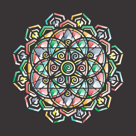 Sacred geometry and Colorful Meditation Mandala