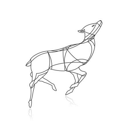 Vector Deer Line Art Illustration, Animal Wireframe, Silhouette Animal, Animal Outline 向量圖像