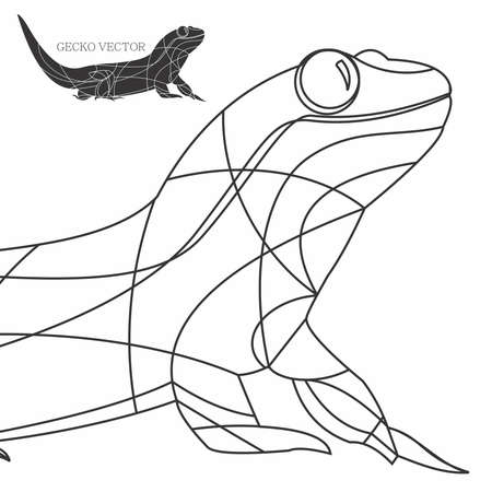 Vector Gecko Line Art Illustration, Animal Wireframe, Silhouette Animal, Animal Outline