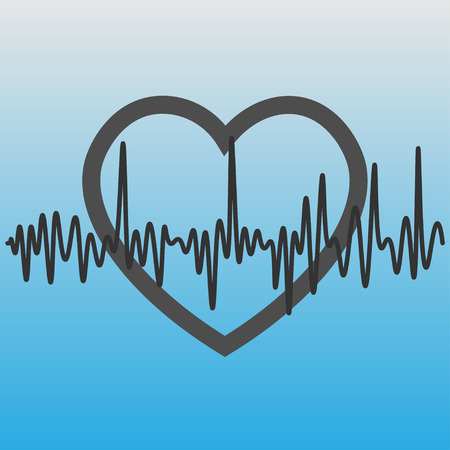 Heart icon with cardiogram. vector illustration.