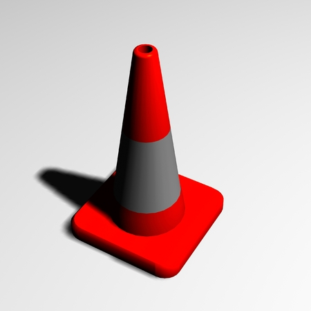 Illustration of road signs. 3d emergency bollards to indicate accidents and road works.