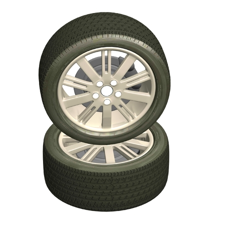 3d illustration of a machine wheel on a white background. Models for business proposals. Stock Photo