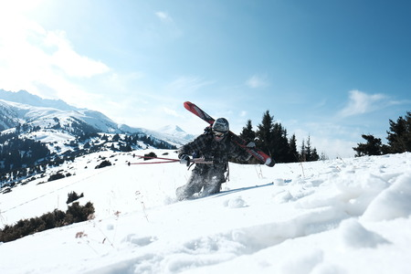 Freerider skier drowned in snow to the waist.