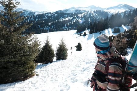 skier looking freeride descent