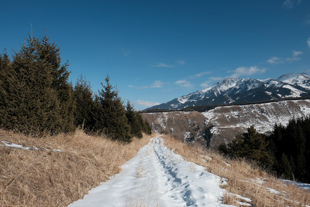 snowy road in the mountains, 스톡 콘텐츠