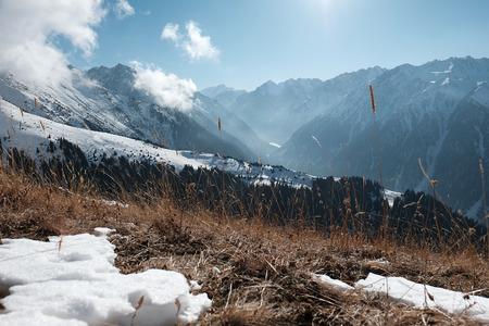 Snowy mountains. clear sky