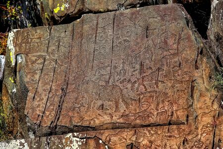image of the ancient hunt on the wall of the cave ocher. historical art. archeology.
