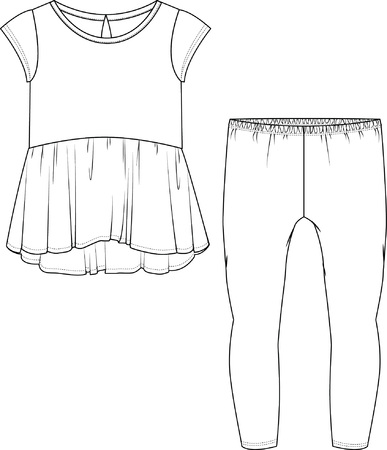 Top & Leggings Set Isolated on a White Background 版權商用圖片 - 63746901
