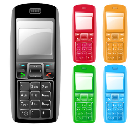 cell phones: Colorful Isolated Cell Phones