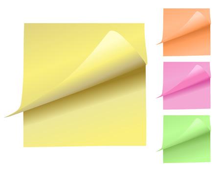 peeling: Colorful Note Pads Peeling Up Illustration