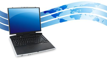 Blue Laptop with Swoosh Stock Photo - 3914096