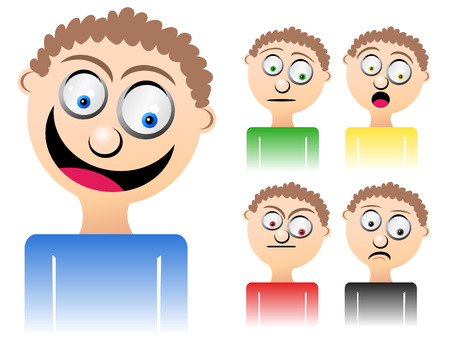 Cartoon Man with Mixed Emotions Stock Vector - 3914102