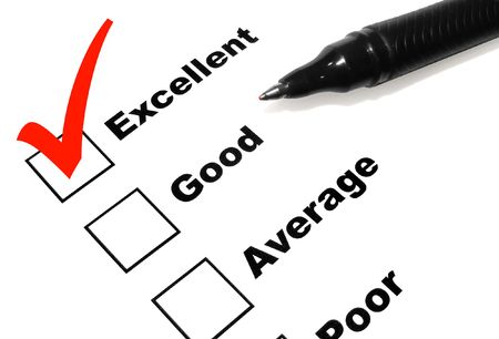 favorable: A pen is checking of the world Excellent in a survey. The check mark is in red.