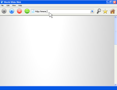website window: A blank computer internet browser screen. There are several iconsbuttons. The beginning of an internet address is being typed out. Perfect for adding your website into.  Illustration