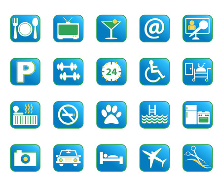 amenities: Choose from a variety of vector hotel amenities icons in blue color. Illustration