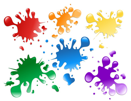 Choose from a variety of colorful paint splatters on a white isolated background.